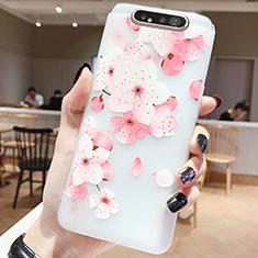 Custodia Silicone Gel Morbida Fiori Cover S04 per Samsung Galaxy A80 Rosa Caldo
