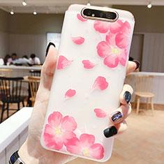 Custodia Silicone Gel Morbida Fiori Cover S05 per Samsung Galaxy A80 Rosa