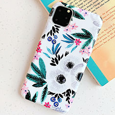 Custodia Silicone Gel Morbida Fiori Cover S06 per Apple iPhone 11 Pro Ciano