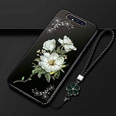 Custodia Silicone Gel Morbida Fiori Cover S06 per Samsung Galaxy A80 Nero