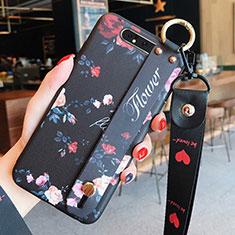Custodia Silicone Gel Morbida Fiori Cover S07 per Samsung Galaxy A80 Nero