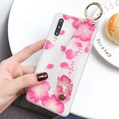 Custodia Silicone Gel Morbida Fiori Cover S08 per Huawei P30 Rosa