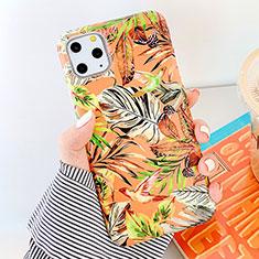 Custodia Silicone Gel Morbida Fiori Cover S09 per Apple iPhone 11 Pro Max Arancione