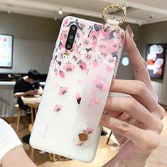 Custodia Silicone Gel Morbida Fiori Cover S10 per Huawei P30 Rosa