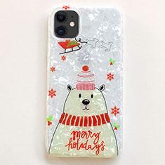 Custodia Silicone Gel Morbida Natale Cover per Apple iPhone 11 Bianco