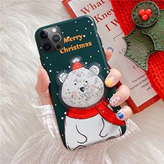 Custodia Silicone Gel Morbida Natale Cover per Apple iPhone 12 Pro Max Verde