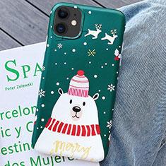 Custodia Silicone Gel Morbida Natale Cover S01 per Apple iPhone 11 Verde