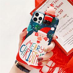 Custodia Silicone Gel Morbida Natale Cover S01 per Apple iPhone 12 Pro Max Blu