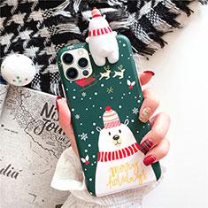 Custodia Silicone Gel Morbida Natale Cover S02 per Apple iPhone 12 Pro Max Verde