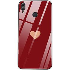 Custodia Silicone Laterale Amore Cuore Specchio Cover S04 per Huawei Honor 8X Rosso