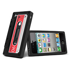 Custodia Silicone Morbida Cassetta per Apple iPhone 4 Nero