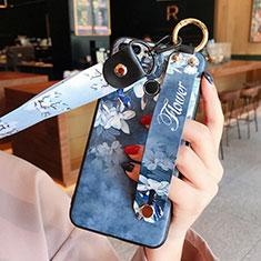 Custodia Silicone Morbida Fiori per Huawei Honor 9 Lite Blu
