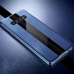 Custodia Silicone Morbida In Pelle Cover A01 per Samsung Galaxy S10 Plus Blu