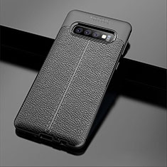 Custodia Silicone Morbida In Pelle Cover A02 per Samsung Galaxy S10 Nero