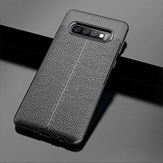 Custodia Silicone Morbida In Pelle Cover A02 per Samsung Galaxy S10 Plus Nero