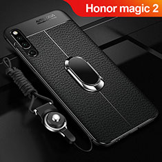 Custodia Silicone Morbida In Pelle Cover con Magnetico Anello Supporto A01 per Huawei Honor Magic 2 Nero