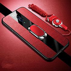 Custodia Silicone Morbida In Pelle Cover con Magnetico Anello Supporto A01 per Oppo K3 Rosso