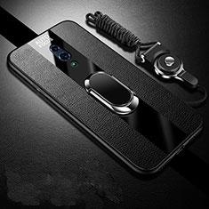 Custodia Silicone Morbida In Pelle Cover con Magnetico Anello Supporto A01 per Oppo Realme X Nero