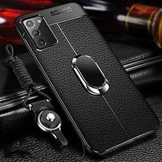 Custodia Silicone Morbida In Pelle Cover con Magnetico Anello Supporto N02 per Samsung Galaxy Note 20 5G Nero