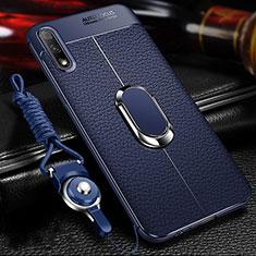 Custodia Silicone Morbida In Pelle Cover con Magnetico Anello Supporto per Huawei Enjoy 10 Blu