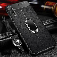 Custodia Silicone Morbida In Pelle Cover con Magnetico Anello Supporto per Huawei Enjoy 10 Nero