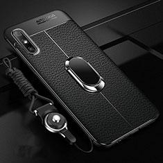 Custodia Silicone Morbida In Pelle Cover con Magnetico Anello Supporto per Huawei Enjoy 10e Nero