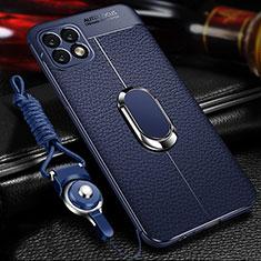 Custodia Silicone Morbida In Pelle Cover con Magnetico Anello Supporto per Huawei Enjoy 20 5G Blu