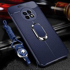 Custodia Silicone Morbida In Pelle Cover con Magnetico Anello Supporto per Huawei Enjoy 20 Plus 5G Blu