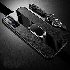 Custodia Silicone Morbida In Pelle Cover con Magnetico Anello Supporto per Huawei Enjoy 20 Pro 5G Nero