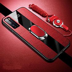 Custodia Silicone Morbida In Pelle Cover con Magnetico Anello Supporto per Huawei Enjoy 20 Pro 5G Rosso
