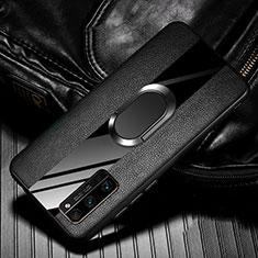 Custodia Silicone Morbida In Pelle Cover con Magnetico Anello Supporto per Huawei Honor 30 Pro+ Plus Nero