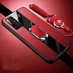 Custodia Silicone Morbida In Pelle Cover con Magnetico Anello Supporto per Huawei Honor 30 Rosso