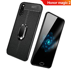 Custodia Silicone Morbida In Pelle Cover con Magnetico Anello Supporto per Huawei Honor Magic 2 Nero