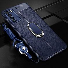 Custodia Silicone Morbida In Pelle Cover con Magnetico Anello Supporto per Huawei Honor Play4 5G Blu
