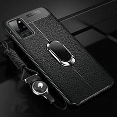 Custodia Silicone Morbida In Pelle Cover con Magnetico Anello Supporto per Huawei Honor Play4 Pro 5G Nero