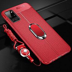 Custodia Silicone Morbida In Pelle Cover con Magnetico Anello Supporto per Huawei Honor Play4 Pro 5G Rosso