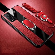 Custodia Silicone Morbida In Pelle Cover con Magnetico Anello Supporto per Huawei Honor Play4T Pro Rosso