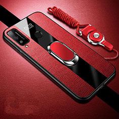 Custodia Silicone Morbida In Pelle Cover con Magnetico Anello Supporto per Huawei Honor Play4T Rosso