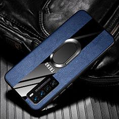 Custodia Silicone Morbida In Pelle Cover con Magnetico Anello Supporto per Huawei Nova 7 Pro 5G Blu