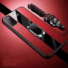 Custodia Silicone Morbida In Pelle Cover con Magnetico Anello Supporto per Oppo A52 Rosso