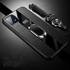 Custodia Silicone Morbida In Pelle Cover con Magnetico Anello Supporto per Oppo A73 5G Nero