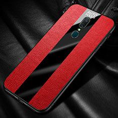 Custodia Silicone Morbida In Pelle Cover con Magnetico Anello Supporto per Oppo A9 Rosso