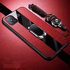 Custodia Silicone Morbida In Pelle Cover con Magnetico Anello Supporto per Oppo A92s 5G Rosso