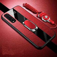 Custodia Silicone Morbida In Pelle Cover con Magnetico Anello Supporto per Oppo Find X2 Rosso