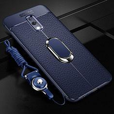 Custodia Silicone Morbida In Pelle Cover con Magnetico Anello Supporto per Oppo Realme X Blu
