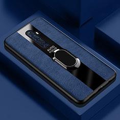 Custodia Silicone Morbida In Pelle Cover con Magnetico Anello Supporto per Oppo Reno2 Z Blu