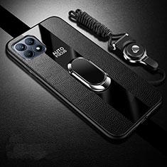 Custodia Silicone Morbida In Pelle Cover con Magnetico Anello Supporto per Oppo Reno4 SE 5G Nero