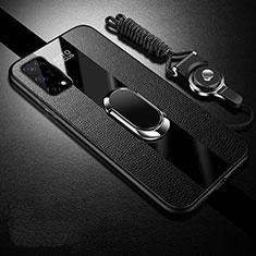 Custodia Silicone Morbida In Pelle Cover con Magnetico Anello Supporto per Realme V5 5G Nero