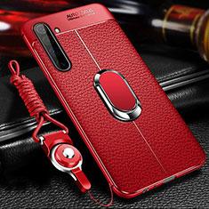 Custodia Silicone Morbida In Pelle Cover con Magnetico Anello Supporto per Realme X50 Pro 5G Rosso