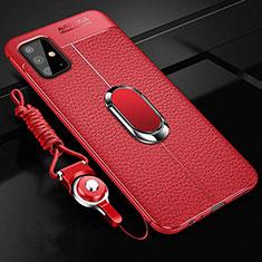 Custodia Silicone Morbida In Pelle Cover con Magnetico Anello Supporto per Samsung Galaxy A51 4G Rosso